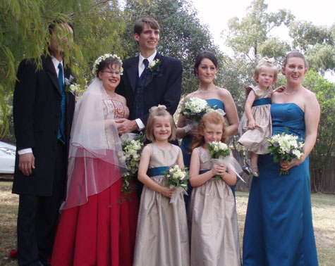 Happy Couple and Brides Attendants