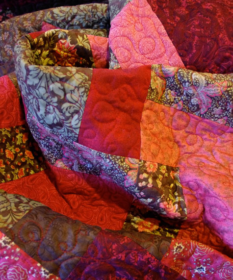 Quilting in progress - red thread