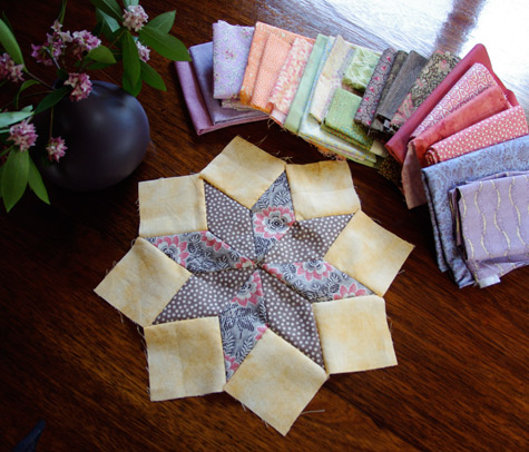 8 pointed Star - Centre of a Wheel Of Fortune Quilt