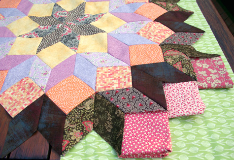"""Wheel Of Fortune"" Quilt - Designed by Kaffe Fasset.  Auditioning Fabrics"