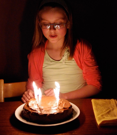 Amelia with her birthday cake - 11 candles