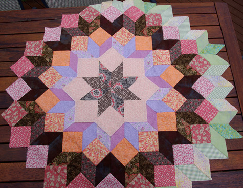 Auditioning peachy fabric squares