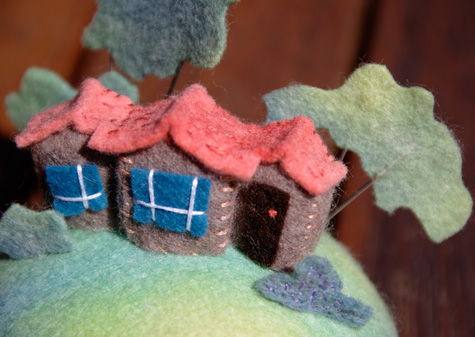 Tiny House Pincushion close up