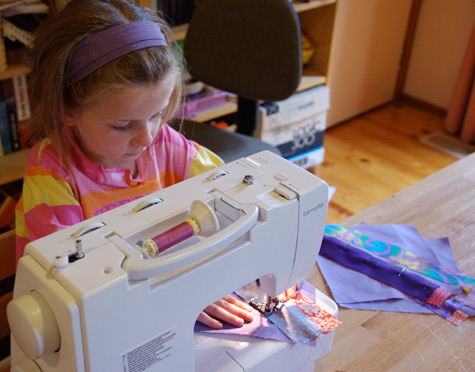 Michaela's first go on the sewing machine - aged 6