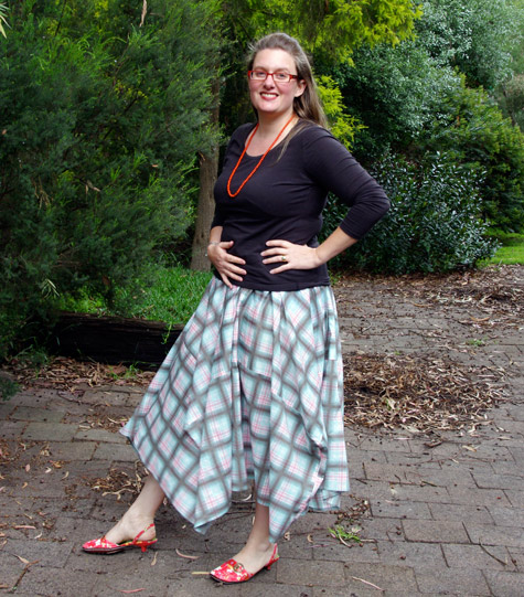 """Peppermint Swirl Skirt"" made using the ""Tablecloth skirt"" tutorial"