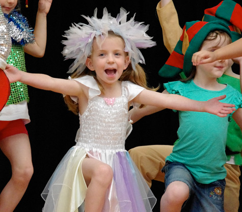Michaela giving it her all as the Tooth Fairy in the school concert