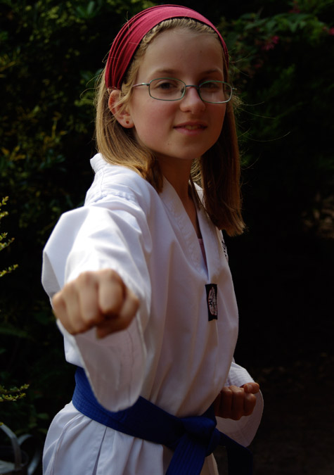Amelia wearing her new Blue Belt
