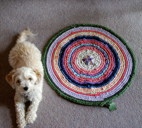 Lotta and my growing Rag Rug