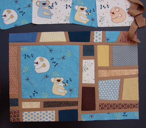 Improvational Piecing, featuring my Koala fabric