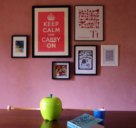 Prints on the wall near our dining table