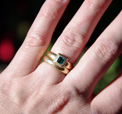 Square Emerald, Bezel set Engagement ring