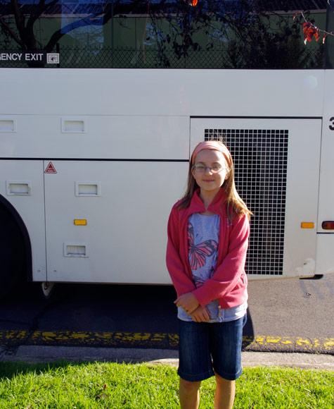 Amelia, next to the bus