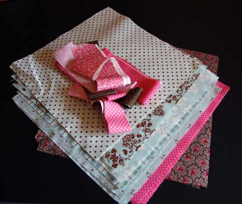 Pretty fabrics - pale aqua, chocolate and vintage pink