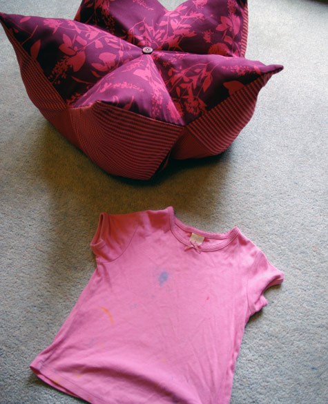 An old, paint-stained tee-shirt to stuff into the footstool