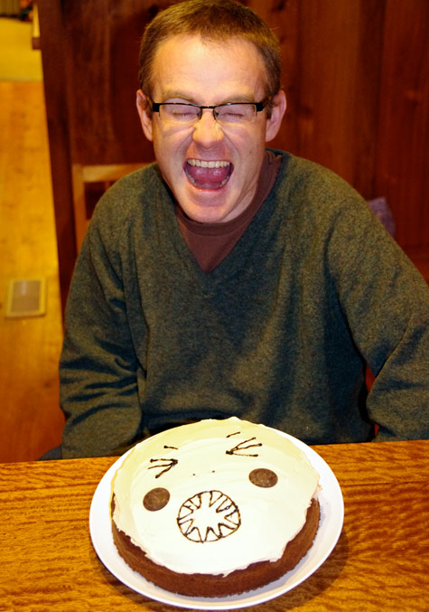 Crazy face Cake, based on a sketch that Luke did.