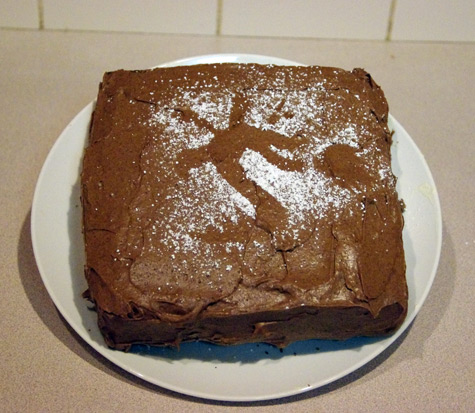 Cinammon Cake with Trogdor Silhouette in icing sugar