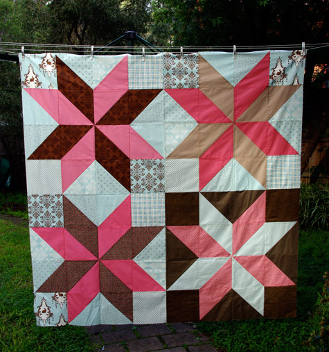 Pink Aqua and Chocolate Quilt