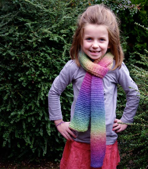 Michaela in her Rainbow scarf