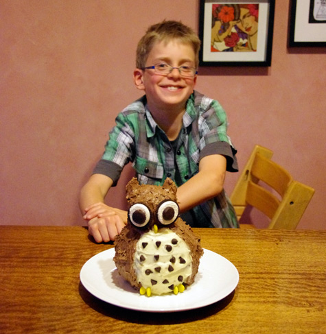 Rory and his Owl Birthday Cake - 10 years old