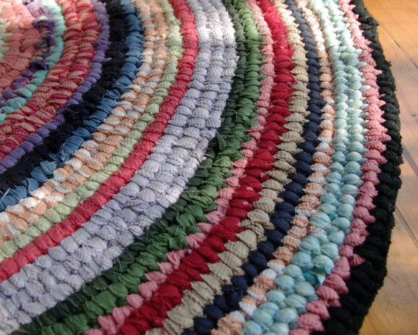 Toothbrush Rag Rug in progress made with old clothes