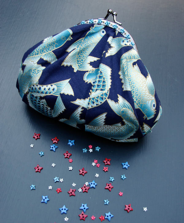 Shell Purse with Koi Fabric
