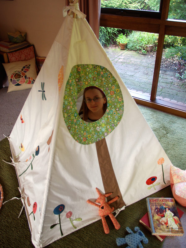 Woodland Play Tent by Matching Pegs with the tree-window open.