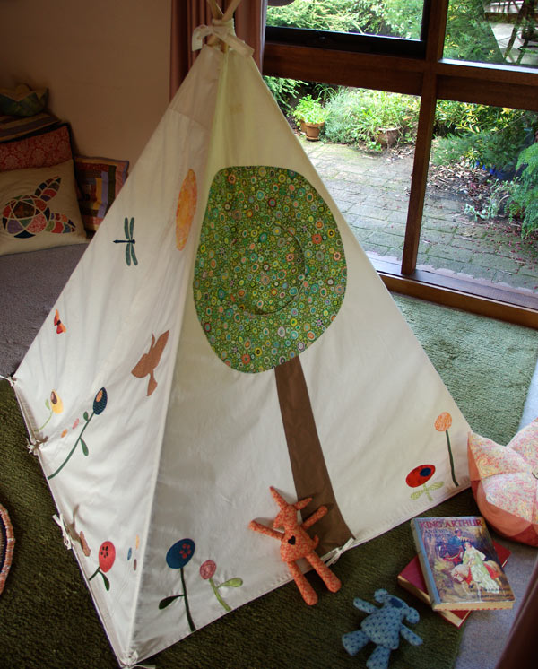 Woodland Play Tent by Matching Pegs, with a closed tree-window