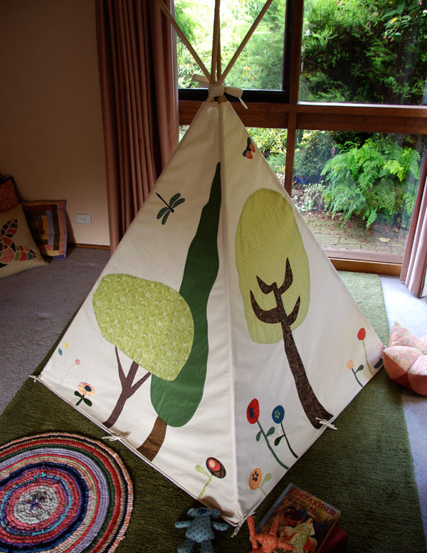 Woodland Play Tent by Matching Pegs, a rear view of the tent