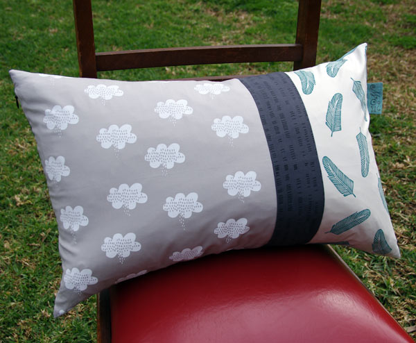 hand printed fabric made up into a cushion