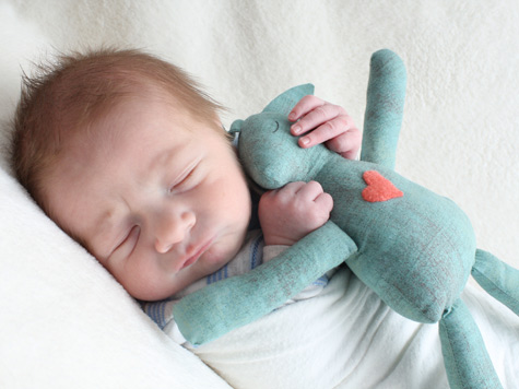 "Baby Arden with his ""Sleepy Bunny""."