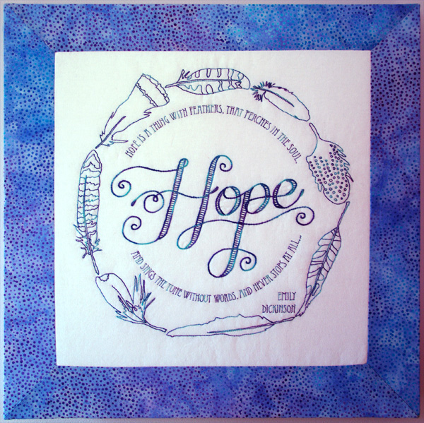 Hope is a thing with feathers - stitchery pattern by Matching Pegs