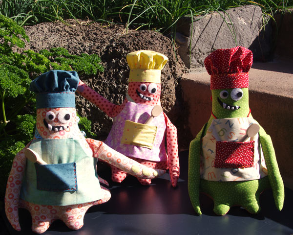 "3 monster Chef's checking out the herbs - Pattern by ""Matching Pegs"""