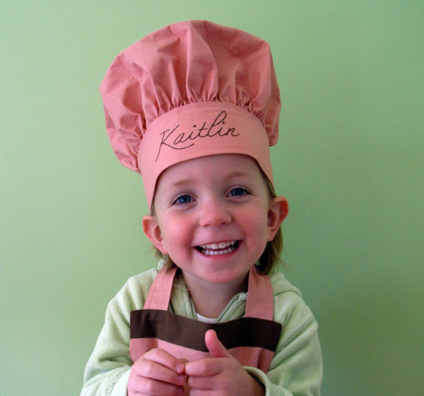 MIchaela when she was 3 1/2 years old, as a mini chef