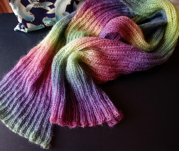 Hand knitted, 2x2 rib, Rainbow scarf