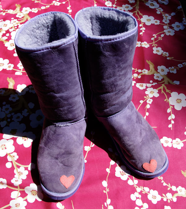 Ugg Boot Repair with a felt heart