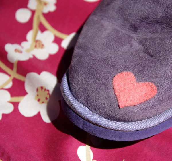 Ugg Boot repair with a felt heart - up close.