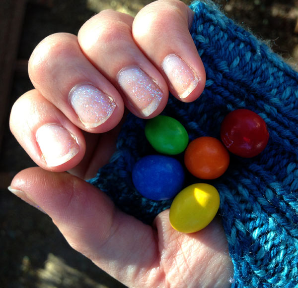 Glitter Nailpolish and M&M's
