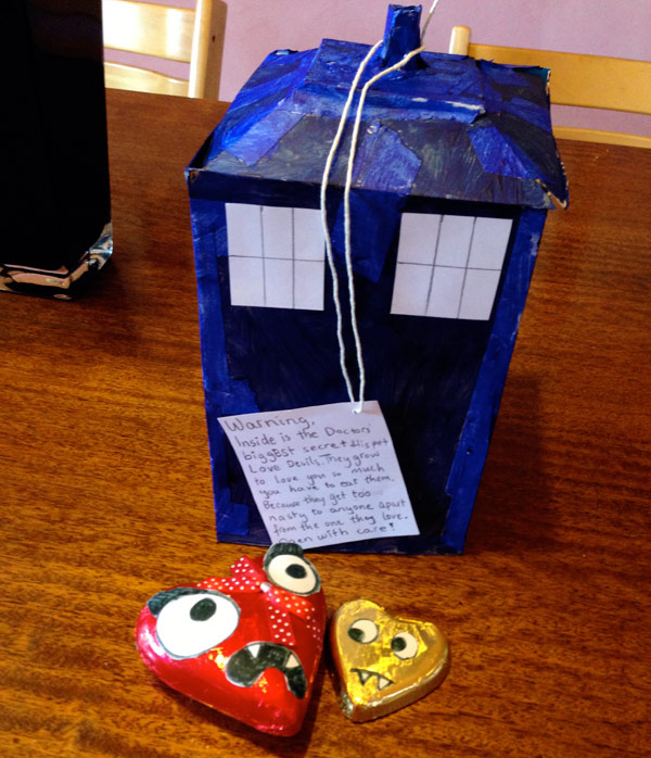 Paper Tardis and Chocolate Hearts
