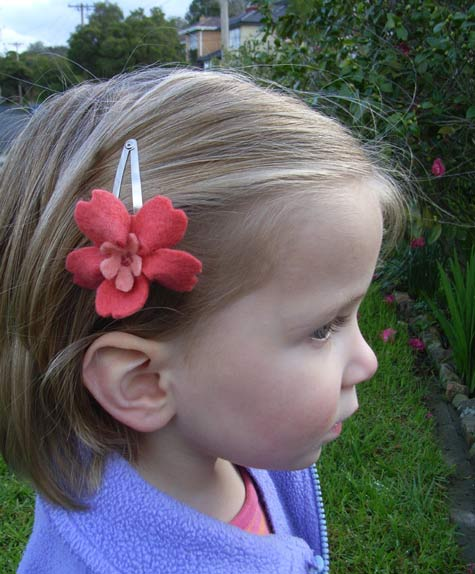 "Michaela, June 2008, with the prototype ""Felt Blossoms"" Hairclip."