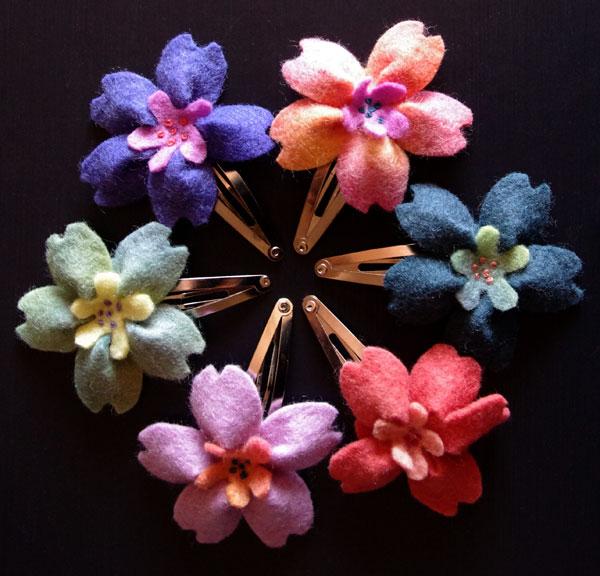 6 Felt Blossoms