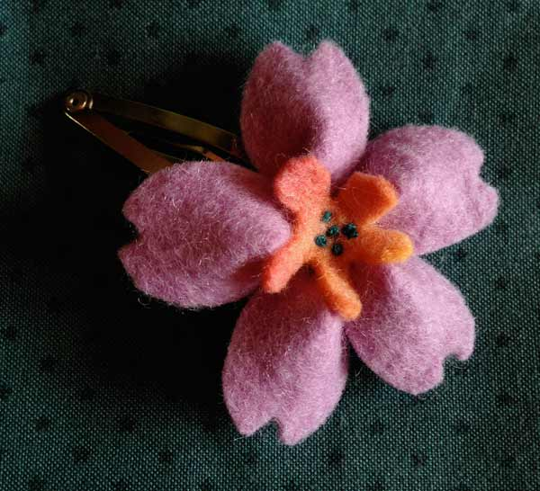 """Lilac """"Felt Blossom"""" Hairclip by Matching Pegs"""