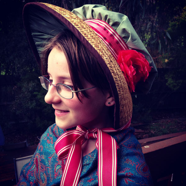 Amelia in my Regency Bonnet