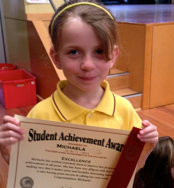Michaela's Student Achievement Award