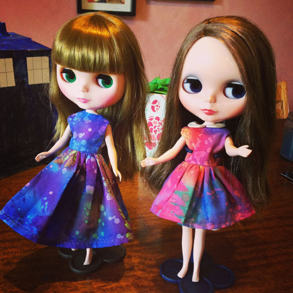 Blythe dresses, made for Christmas 2013 by Matching Pegs