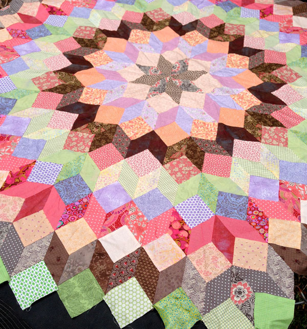 """Wheel Of Fortune Quilt"" hand pieced by Matching Pegs"
