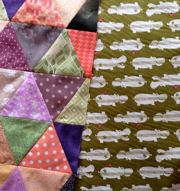 Wonderful hippo backing fabric for the cushion :: Matching Pegs
