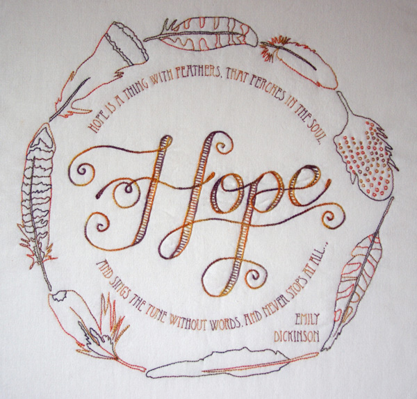 """Hope is a thing with Feathers"" stitchery pattern by Matching Pegs"