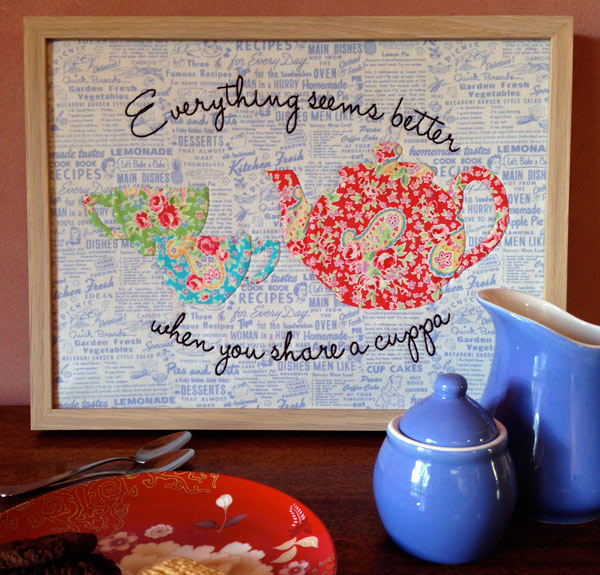 """Share A Cuppa"" appliqué pattern by Matching Pegs"