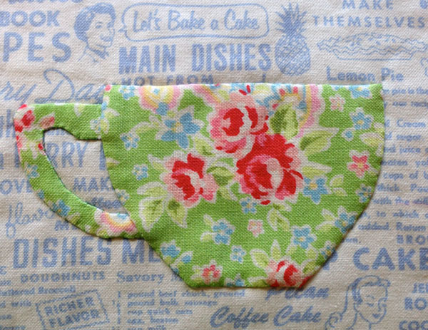 "Teacup applique, detail of ""Share a Cuppa"" pattern by Matching Pegs"
