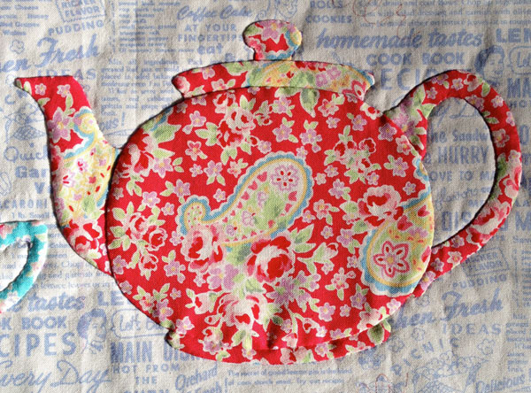 "Teapot applique, detail of ""Share a Cuppa"" pattern by Matching Pegs"